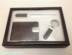 Набор подарочный, 20х15х3 см, нож, брелок, визитница
