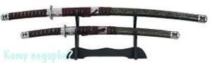 Набор самурайских мечей: катана и вакидзаси на подставке, l=100 см, 002