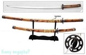 Набор самурайских мечей: катана и вакидзаси на подставке, l=100 см, 001