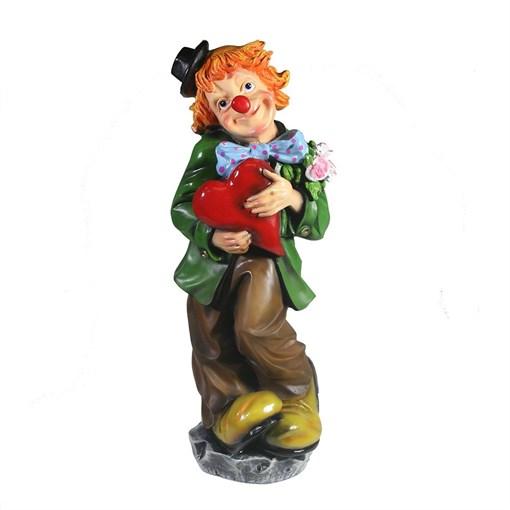 Фигура декоративная Клоун с сердцем L12W12H35см - фото 102800