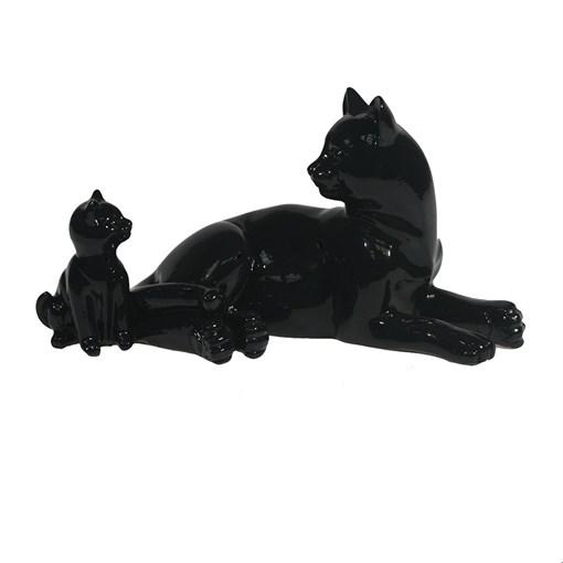 Фигура Кошка с котенком цвет: черный глянец L17W9H9см - фото 106868