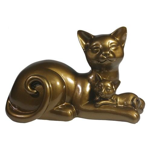 Фигура II Кошка с котенком глянец цвет: темное золото L18W10H12см - фото 106873