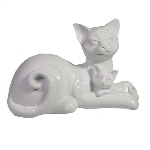Фигура декоративная Кошка с котенком цвет: белый глянец L=18 W=10 H=12 см - фото 173680