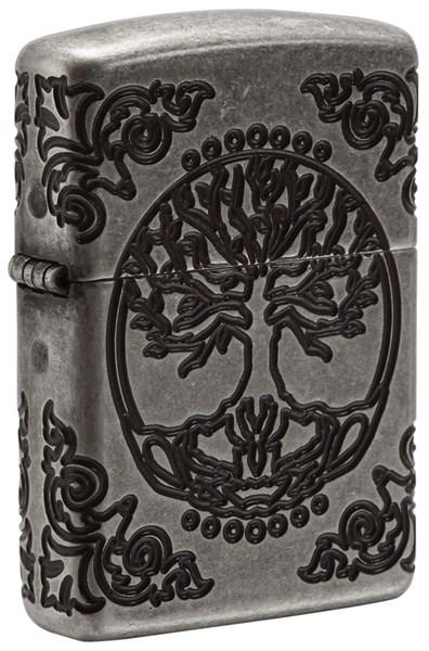 Зажигалка ZIPPO Armor® с покрытием Antique Silver, латунь/сталь, серебристая, матовая, 36x12x56 мм - фото 184732