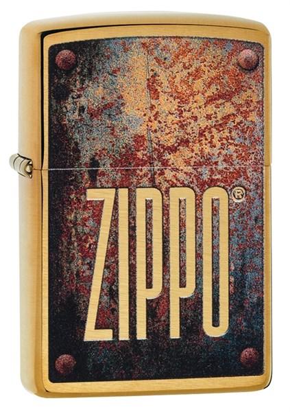 Зажигалка Зиппо (Zippo) Rusty Plate с покрытием Brushed Brass, 29879 - фото 184810