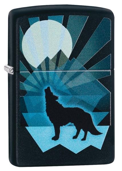 Зажигалка Zippo Wolf and Moon с покрытием Black Matte, 29864 - фото 184829