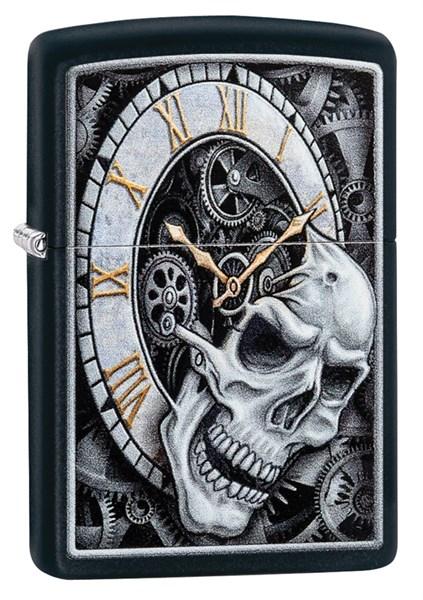 Зажигалка Zippo Skull Clock с покрытием Black Matte, 29854 - фото 184880