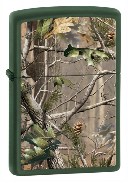Зажигалка Зиппо (Zippo) Realtree® с покрытием Green Matte, латунь/сталь, зеленая, матовая, 36x12x56 мм - фото 184938