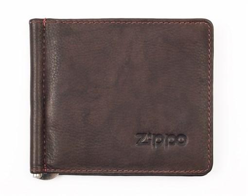 Зажим для денег Зиппо (Zippo), коричневый, натуральная кожа, 10,5x1x9 см - фото 184994