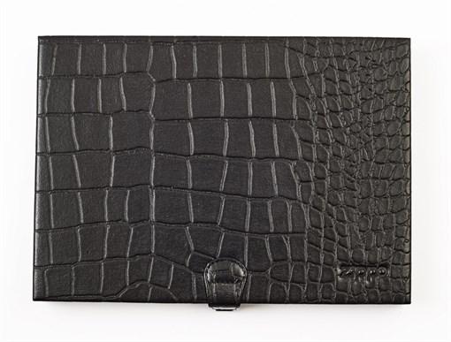 Кейс коллекционера для 8 зажигалок Зиппо (Zippo), чёрный, натуральная кожа, 24x3x17 см - фото 185007
