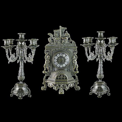Часы каминные с канделябрами на 5 свечей, под бронзу AL-82-101-C-ANT - фото 186110