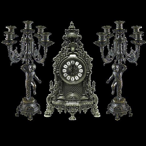 Часы каминные и 2 канделябра Купидон на 5 свечей, под бронзу AL-82-103-P-ANT - фото 186119