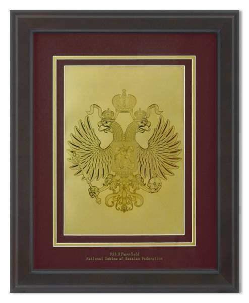 Картина с гербом РФна красном фоне HB-204 - фото 186247