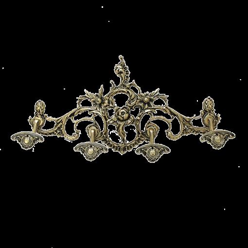 Вешалка настенная на 4 крючка, большая, золото BP-29051-D - фото 186920