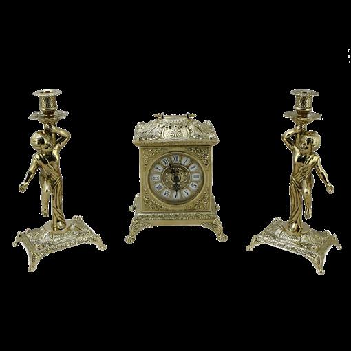 Часы Ларец каминные, 2 канделябра Амур на 1 свечу AL-82-108-C - фото 186953