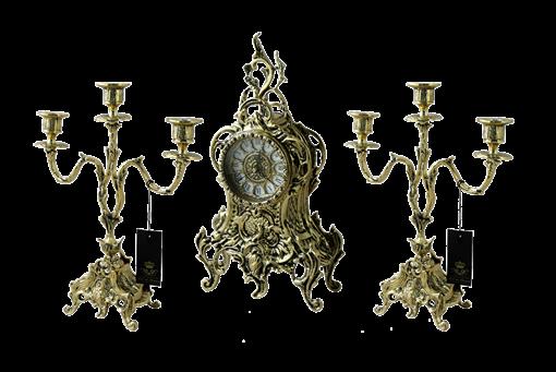 Часы каминные с канделябрами Дон Луиш, золото BP-25050-D - фото 187012