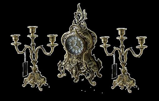 Часы каминные с канделябрами в наборе Дон Луиш, антик BP-25050-A - фото 187013