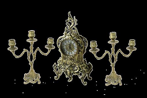 Часы Ласу каминные с канделябрами в наборе, золото BP-25038 - фото 187015