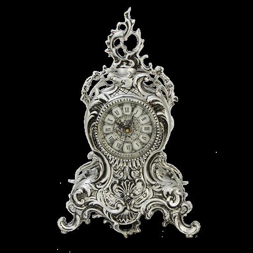 Часы Ласу каминные бронзовые с покрытием  серебро BP-27095-S - фото 187542
