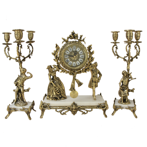 Часы каминные c канделябрами Пастораль на мраморной подставке BP-27062-14085-D - фото 187550