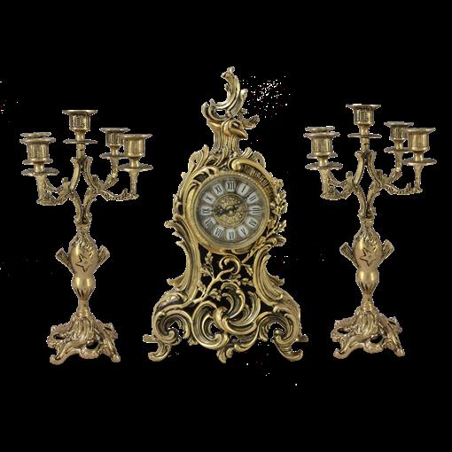 Часы антикварные каминные с маятником с канделябрами Сильвия BP-2707028-D - фото 187579