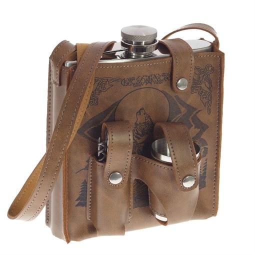Фляжка в чехле, 500 мл, 4 стопки, нож, L13 W8 H17 см - фото 194944