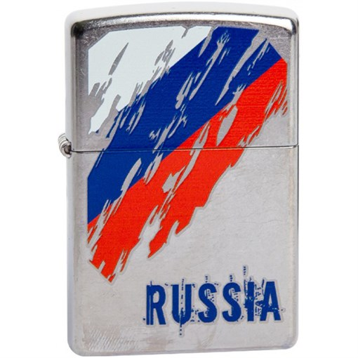 Зажигалка Zippo Street Chrome 207 Russian Flag - фото 198532