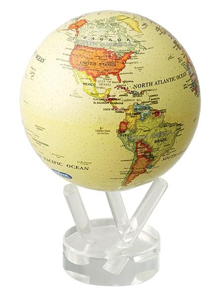 Глобус самовращающийся Mova Globe d12 см с  политической картой Мира, цвет бежевый - фото 251245