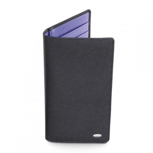 Бумажник в карман жилета, вертикальный, супертонкий черный, фиолетовый - фото 251264