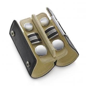 Набор подарочный: футляр дорожный с запонками из 6-ти штук, кожа, гематит, перламут, сталь - фото 251312