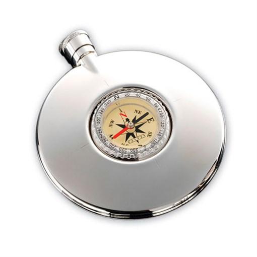 Фляга 95 мл, с компасом, сталь - фото 251345