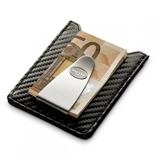 """Футляр для кредитных карт с клипом для денег, кожа  тиснения """"карбон"""", черная - фото 251349"""