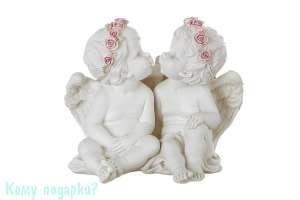 "Фигурка ""Два ангела в венках из роз"", коллекция ""amore"", 15x11x16 см - фото 251508"