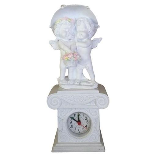 Часы настольные Ангелочки под зонтом цвет: белый Н26 см - фото 251657