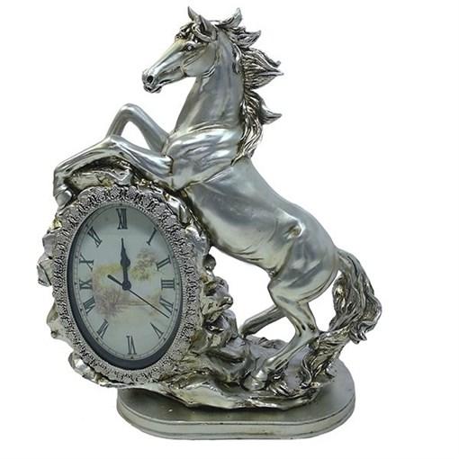 Часы настольные Лошадь цвет: серебро L31W15H40 см - фото 251663