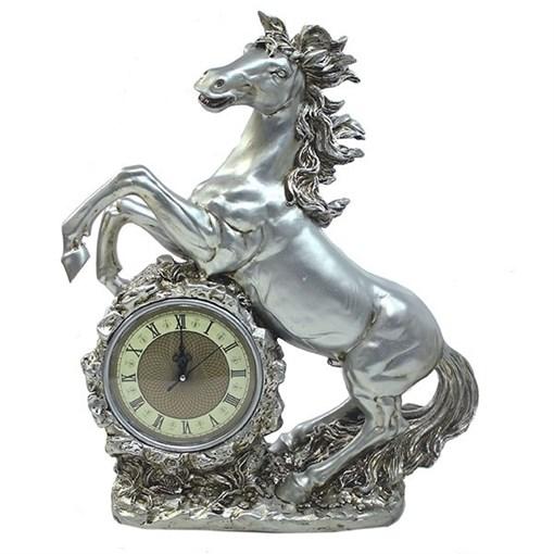 Часы настольные Конь цвет: серебро L39W17H51 см - фото 251667