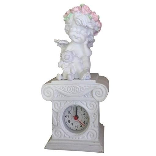 Часы настольные Ангелочек с медведем цвет: белый Н24 см - фото 251674