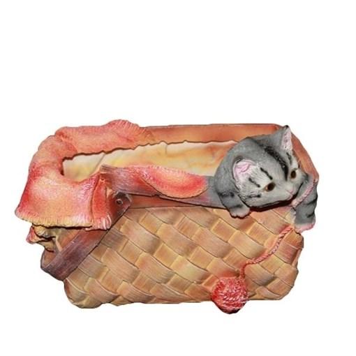 Кашпо декоративное Котенок в лукошке L26W24H13 см. - фото 251930