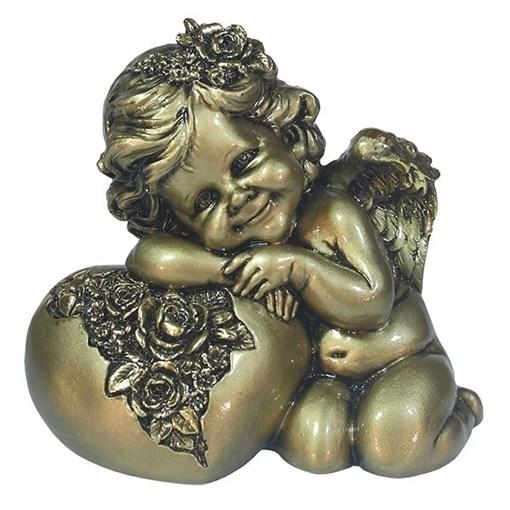 Фигука декоративная Ангел Сердце роз цвет: золото L15W9H13см - фото 252291
