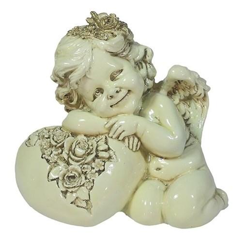Фигука декоративная Ангел Сердце роз цвет: слоновая кость L15W9H13см - фото 252293