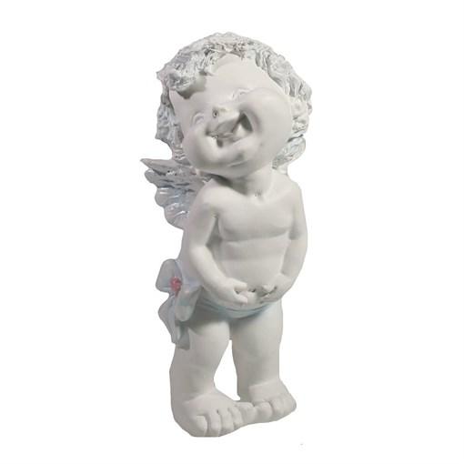 Фигура декоративная Счастливый ангелочек белый L7W8H18см - фото 252295