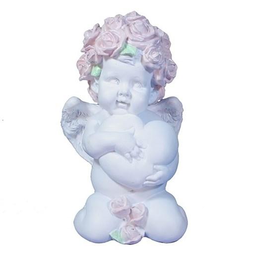 Фигука декоративная Ангел Сердечной привязанности цвет: белый L12W9H19см - фото 252296