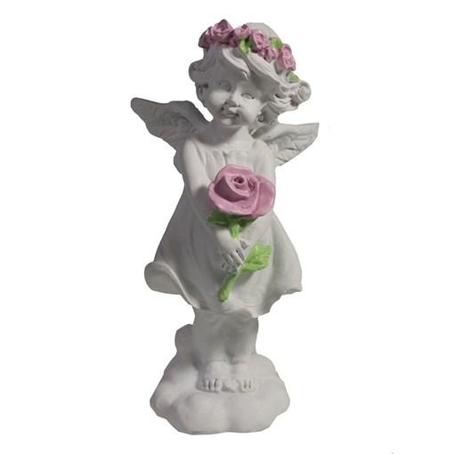 Изделие декоративное Ангел с розой цвет: акрил L6W6.5H12.5см - фото 252300
