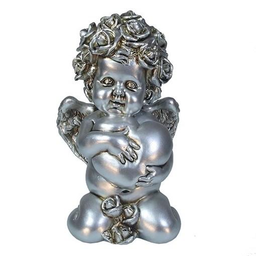 Фигука Ангел Сердечной привязанности цвет: серебро L12W9H19см - фото 252416