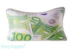 """Подушка  объемная """"100 Евро"""", 38х23х12 см - фото 41811"""