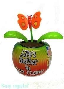 "Аксессуар для автомобиля ""Цветок"" с бабочкой, оранжевый, 11x7x11см - фото 41832"