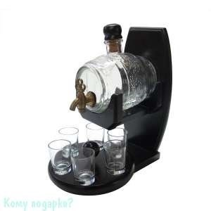 Бочонок для вина 500 мл с 6 стопками на деревянной подставке, 21х15х24,5 см - фото 42112