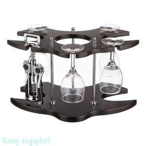 Минибар: подставка, 4 фужера, штопор, h=19 см (бокалы в подарок) - фото 42131