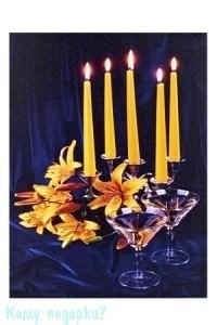 Картина с подсветкой «Свечи, Цветы, Мартини», 30х40 см - фото 42317