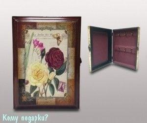 Ключница настенная «Цветы», 27x6,5x19,5 см - фото 42366
